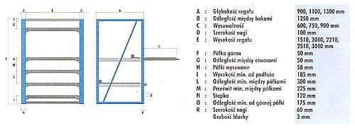 Regał o udźwigu 800 kg/półkę i 70% wysuwu, BM Serwis