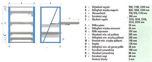 Regał o udźwigu 1000 kg/półkę i 95% wysuwu, BM Serwis
